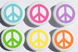 Pop Peace Sign Drawer Pulls/Ceramic Drawer Knobs, Set of 6