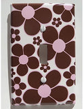Brown and Pink Daisy Flower Light Switch Plate Cover