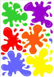 Multicolored Paint Splat Wall Decals Paintball Stickers Decor