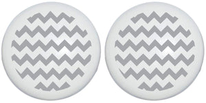 Dark Charcoal Grey Chevron Print Drawer Knobs/Ceramic Cabinet Pulls Gray Chevrons Nursery Decor (Set of Two)