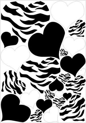 Hearts Zebra Print, Black, and White Heart Wall Stickers / 25 Heart Wall Decals / Decor