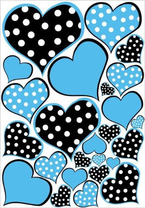 Blue and Black Polka Dot Heart Wall Decals Stickers