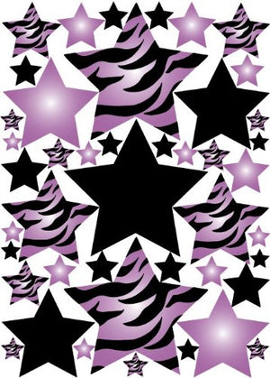 Purple 3D Zebra Print Star Wall Sticker Decals