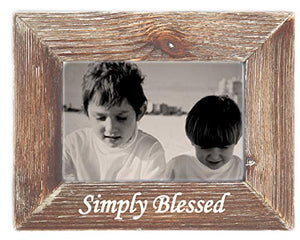 Simply Blessed Farmhouse Barn Wood Picture Frame Tabletop or Wall Hanging Weathered Brown Vintage Rustic Antique Country Home Decor