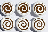 Brown Swirly Polka Dot Drawer Knobs/Whimsical Swirls Ceramic Cabinet Pulls for Nursery or Children's Room Decor (Set of 6)