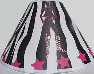 Zebra Print Lamp Shade with Runway Fashion Models / Zebra Print Nursery Decor