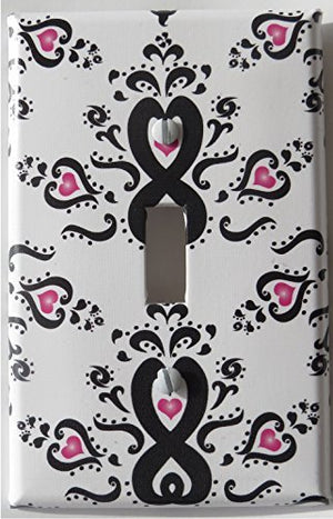 Damask with Pink Hearts Light Switch Plate Cover