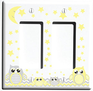 Grey and Yellow Owl Light Switch Wall Plate and Outlet Cover / Owl Nursery Decor