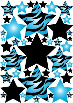 Blue 3D Zebra Print Star Wall Sticker Decals