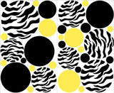 Zebra Print Yellow and Black Dots Wall Stickers / Decals
