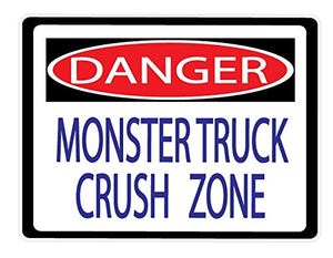 Danger Monster Truck Crush Zone Street Sign Wall Decals / Monster Truck Wall Decals / Stickers