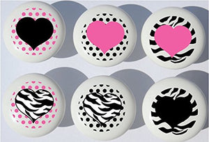 Presto Wall Decals Zebra Print Pink and Black Heart Drawer Pulls/Zebra Stripes Pattern Furniture Ceramic Cabinet Knobs (Set of 6)