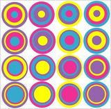 Multi Colored Dots Wall Decals Stickers #2 (Pink,purple,blue,& Yellow Combo)