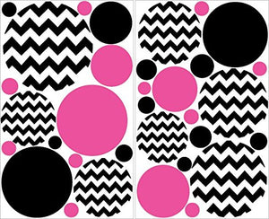 Hot Pink and Black Chevron Polka Dots Wall Decals Stickers