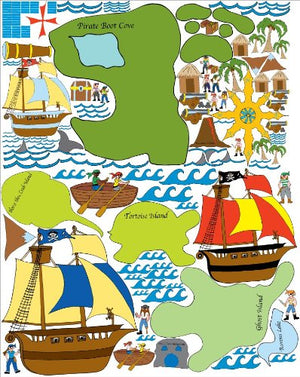 Giant Pirate Wall Mural Adventure Map Wall Stickers / Decals