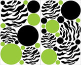 Green and Black Zebra Print Dots Wall Decals / 33 Polka Dot Wall Stickers