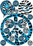 Sixties Theme Blue Peace Sign Cheetah and Zebra Print Wall Stickers Decals