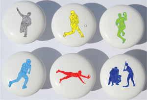 Baseball Drawer Pulls / Furniture Ceramic Drawer Knobs / Set of 6