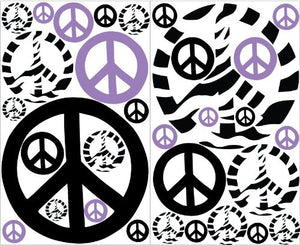 Purple Zebra Print Peace Sign Wall Stickers / Decals