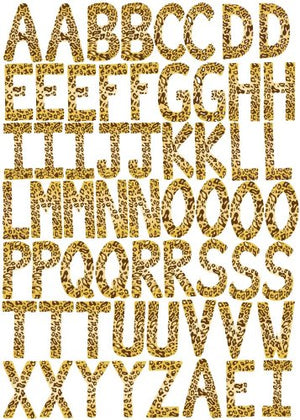 60 ABC Alphabet Wall Decals Leopard 3.25in. Letters Brown Gold Wall Stickers
