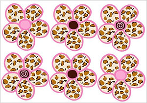 Pink and Tan Leopard Print Daisies Stickers