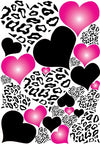 Leopard Print Hearts Wall Decals in Hot Pink Radials and Black Wall Stickers / Decals