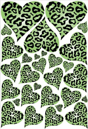 Green Leopard Cheetah Print Hearts Wall Stickers / Decals