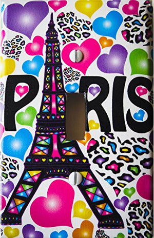 Paris Light Switch Plate Covers / Single Toggle / Eiffel Tower Switch Plates with Multicolored Leopard Print Hearts