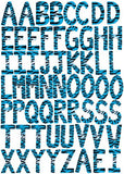 60 ABC Alphabet Wall Decals Turqouise Blue Zebra Print 3.25in. Letters Wall Stickers Decals