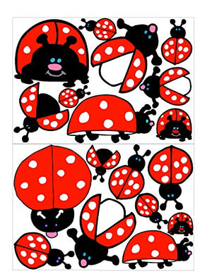 Ladybug Wall Decals / Lady Bug Stickers in Red with White Dots