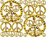 Gold and Brown Leopard Print Peace Sign Wall Decals Stickers Decor