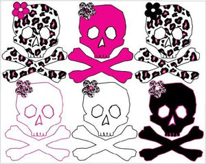 Hot Pink, Black, Leopard Print Skulls Teen Wall Decals / Stickers on one sheet about 26in wide by 21in.