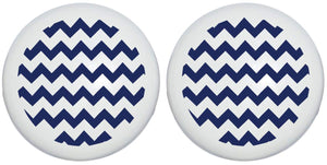 Navy Blue Chevron Print Drawer Knobs Ceramic Cabinet Pulls Chevrons Nursery Decor for Baby Boys (Set of Two)