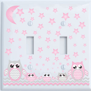 Grey and Pink Owl Light Switch Plate Covers and Outlet Covers/Owl Nursery Decor