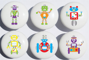 Robot Drawer Pulls / Ceramic Drawer Knobs, Set of 6