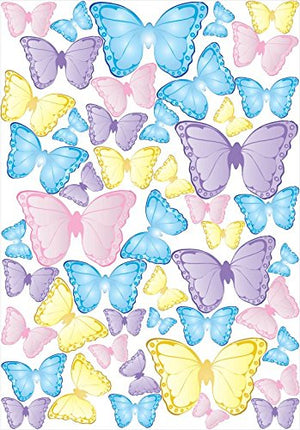 48 Butterfly Wall Decals in Blue, Purple, Yellow and Pink Butterflies Wall Stickers