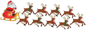 Santa Claus Wall Decals in His Sleigh with 8 Reindeer Decals and Rudolph Wall Stickers