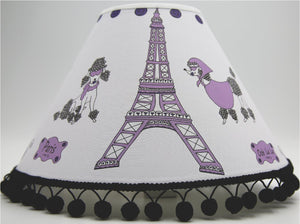 Purple Poodles in Paris Lamp Shade/Paris Children's Nursery Room Decor