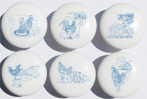 Country Chicken and Roosters Drawer Knobs Pulls in Blue Toile/Ceramic Dresser, Cupboard or Cabinet Pulls for Kitchen or Children's Nursery Room Decor