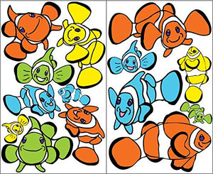 Clown Fish Wall Decals Stickers/Multicolored Clown Fish Chilren's Room Decor in Blue, Orange, Yellow and Green