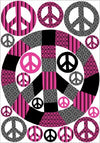 Patchwork Pink Peace Sign Wall Stickers / Decals