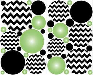 Green Radial and Black Chevron Polka Dots Wall Decals Stickers