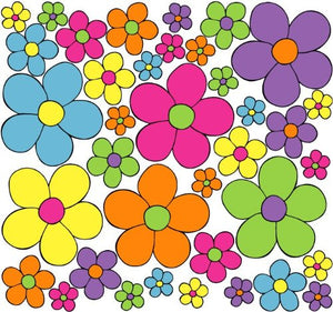 Daisy Pop Flower Wall Stickers, Decals, Spring Flowers Wall Decor