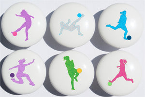 Girls Soccer Drawer Pulls / Ceramic Drawer Knobs / Set of 6