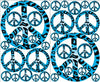 Blue Leopard Animal Print Peace Sign Wall Stickers Decals