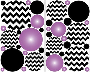 Purple Radial and Black Chevron Polka Dot Wall Decals Stickers