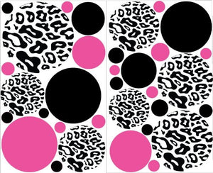 Pink and Black Leopard Print Dot Wall Decals Stickers