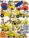 Giant Construction Wall Decals / Truck Stickers with Bulldozer , Tractors, Cement Truck, Dump Truck, Cranes, and Even a Forklift