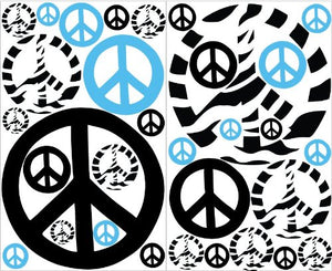 Blue Zebra Print Peace Sign Wall Stickers / Decals Mini