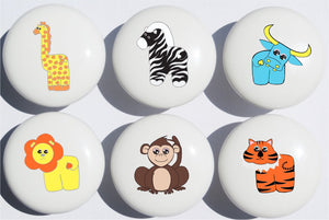 Jungle Safari Drawer Pulls Multicolored Set of 6 / African Wildlife Animal Ceramic Drawer Knobs/Children's Nursery Decor with Zebra, Monkey, Tigers, Lion, Water Buffalo and Giraffe